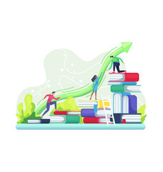 people climbing books vector image