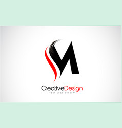 Red and black m letter design brush paint stroke vector