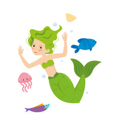 red haired pretty mermaid princess in the sea vector image