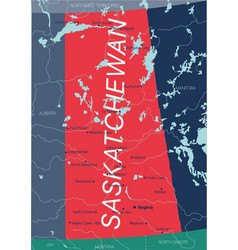 Saskatchewan province editable map vector