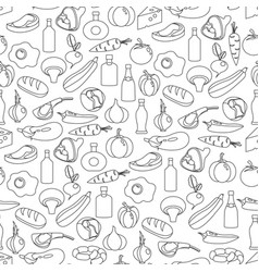 seamless pattern of flat food and drink vector image vector image