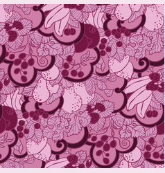 seamless pattern with abstract curls fruits and vector image
