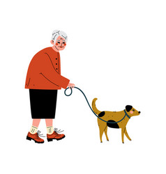 senior woman walking with her dog old lady and vector image