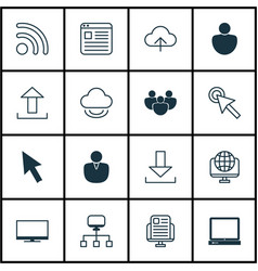 Set 16 internet icons includes display login vector