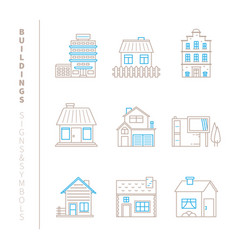 set of buildings icons and concepts in mono thin vector image