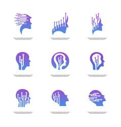 Set of head tech logo concept brain robotic logo vector