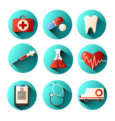 set of medical icons with different elements of a vector image