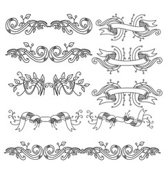set of vintage vignettes with leaves and ribbons vector image