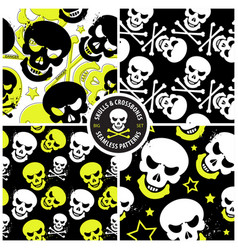 set seamless patterns with skulls vector image
