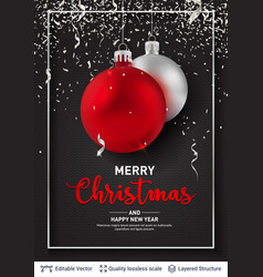 shiny christmas balls and text on dark background vector image
