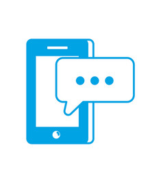 silhouette smartphone technology with chat bubble vector image