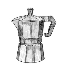 Sketch of coffee maker hand drawn coffee maker vector