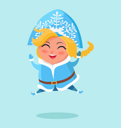 smiling snow maiden jumping high on snow vector image