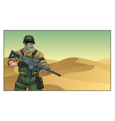 Soldier in desert vector