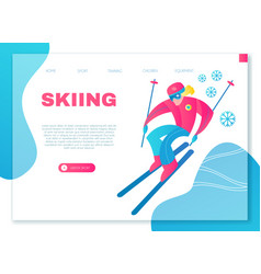 speed skiing winter sport design template vector image