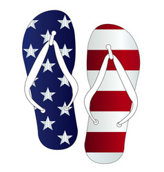 Stars and stripes flip flop shoes vector