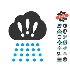 Storm cloud icon with tools bonus vector
