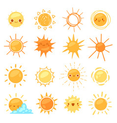sun sunny icon with yellow sunlight vector image