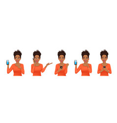 Surprised african woman set with phone vector