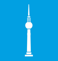 Tower icon white vector