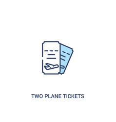 Two plane tickets concept 2 colored icon simple vector