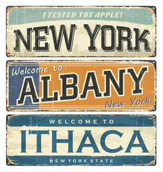 us cities new york albany ithaca nyc vector image