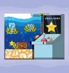 video game scene interface with console vector image
