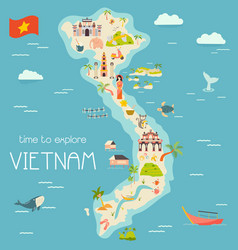 vietnam cartoon map with destinations elements vector image