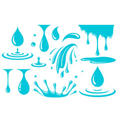 water drop splash and spray set icons vector image