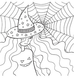 Witch girl in the hat and web doodle coloring vector