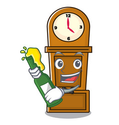 With beer grandfather clock mascot cartoon vector