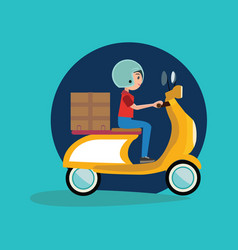 delivery boy riding motor bike icon vector image