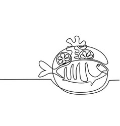 grilled fish on plate with lemon and potato vector image