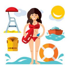 lifeguard flat style colorful cartoon vector image