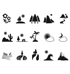 black landscape icons set vector image