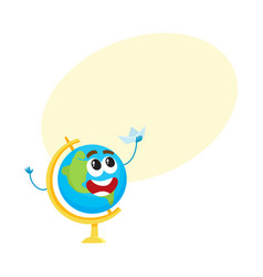 cute funny smiling school globe character holding vector image vector image