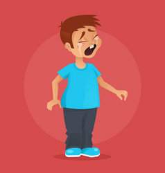 little boy character crying vector image