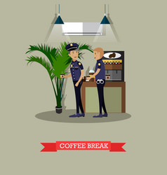 policemen taking coffee break vector image