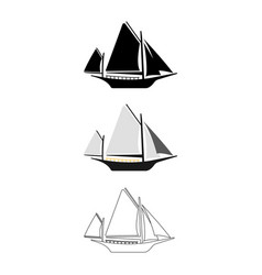 set of flat boat icon cartoon outline vector image