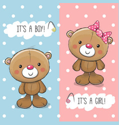 baby shower greeting card with teddy bears vector image