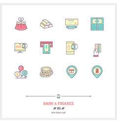 Bank and Finance Line Icons Set vector image