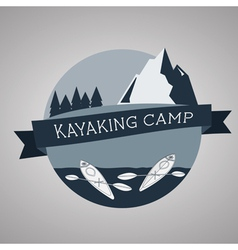 Kayaking camp logo Expedition label and sticker vector image vector image