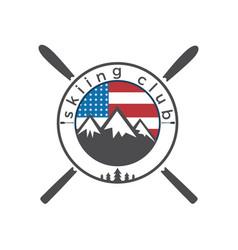 Usa flag and mounting skiing logo design vector