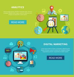 digital analytics banners set vector image
