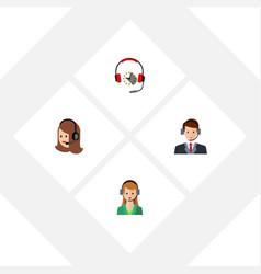 flat hotline set of secretary hotline service vector image vector image