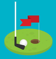 golf flag with ball flat style design - vector image vector image