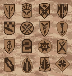 Military camouflage emblem patch set in tan vector image vector image