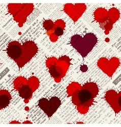Newspaper hearts background vector image