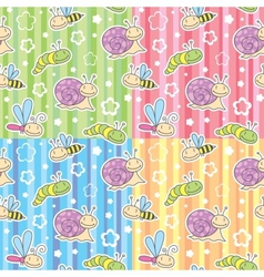 patterns with insects vector image vector image