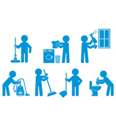 Set of icon cleaning with figure people vector image vector image